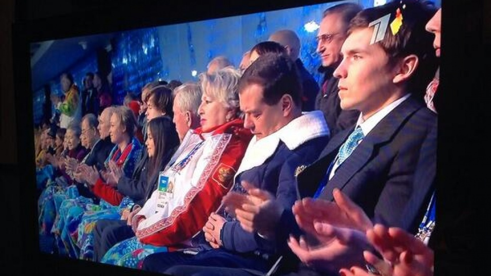Medvedev Sleeping During The Sochi Olympics Opening