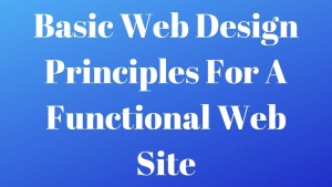 Basic Web Design Principles For A Functional Web Site